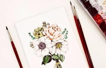 1日1畫1份情 插畫師이랑把生活過的像花兒一樣