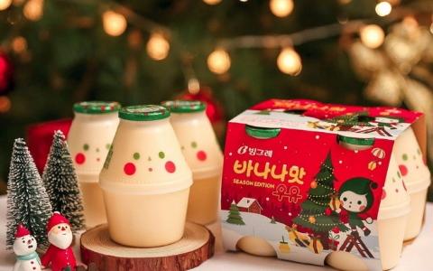 「聖誕香蕉牛奶」萌出新高度 韓國網友發明各種喝法 爆笑指數破表