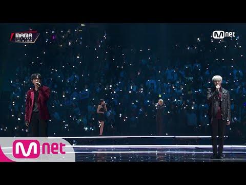 接著則是三團合作的舞台!由MAMAMOO、MONSTA X 以及 Wanna One帶來BIGBANG太陽的經典歌曲<EYES, NOSE, LIPS>,四位成員的美聲更是讓現場氣氛又更一層了呢!