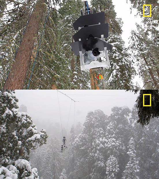 最後只能架設纜線,再把相機架在上面