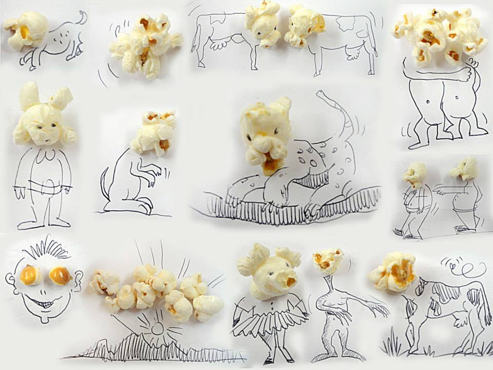我最愛的就是他把爆米花拿來畫圖的這個創意了XDD