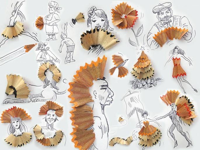 削鉛筆屑也是他的創作來源