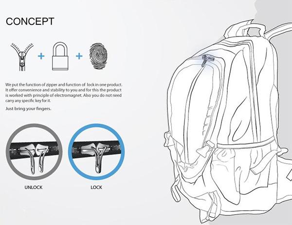 這個包包的設計 就是用設定好的指紋才可以開鎖