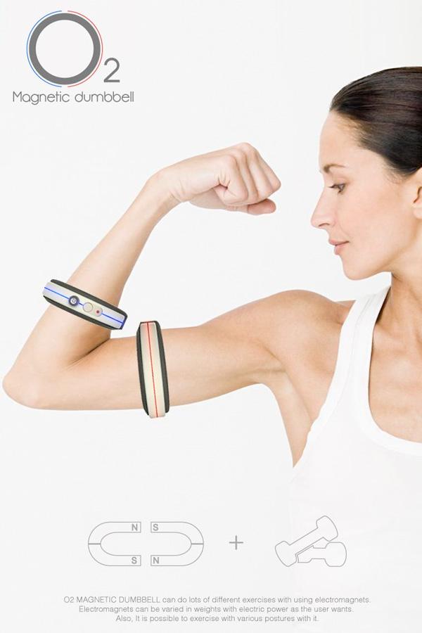 比方說鍛鍊手臂肌肉時 因為兩個環相吸 就得出力使它們遠離 而這個其實是需要花一點力氣的