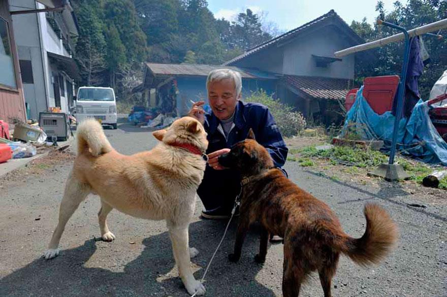 他說一開始餵自己家的動物時 隔壁的狗瘋狂似的吼叫 他走過去一看,發現全都還拴著 因為逃難當時,大家都以為過幾周後就可以回家 因此從那時開始就開始照顧災區裡的動物