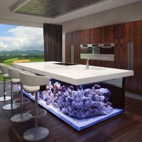 #6 利用桌下的空間與燈光的調整 讓石頭材質的桌子不再厚重