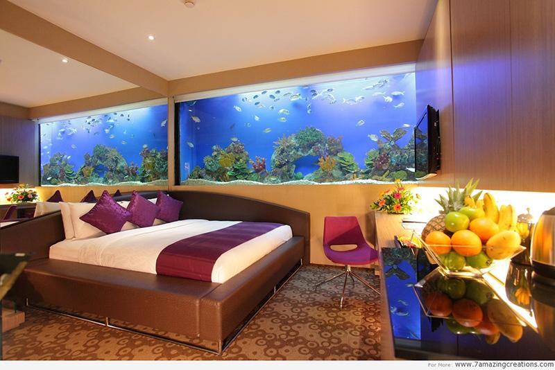#15 不只用水族箱增加視野寬度 床頭還有一大片鏡子 看起來房間超級king size!!