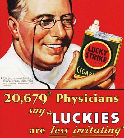 這張圖片是1920年代販售的Lucky Strike香菸廣告! 雖然令人難以相信, 當時的香菸公司真的以有藥效的文宣,吸引消費者購買.....@@''