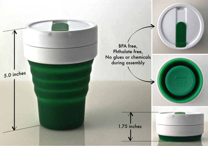 組成部分:杯蓋、杯口、矽膠杯身 這款折疊杯高5英尺(約10公分) 但是折起來之後只有1.75英尺(約近5公分) 只比一個蓋子略高