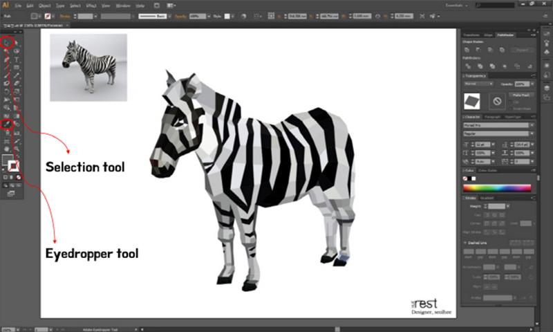 最後,請從原圖中取出斑馬的原色! 接著再一塊一塊的上色!然後斑馬就完成摟~