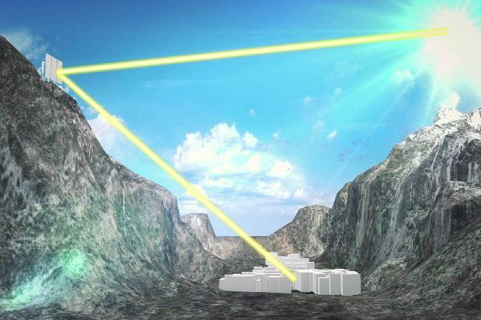 原理很簡單, 透過光線折射,讓陽光透過鏡子反射到小村莊~