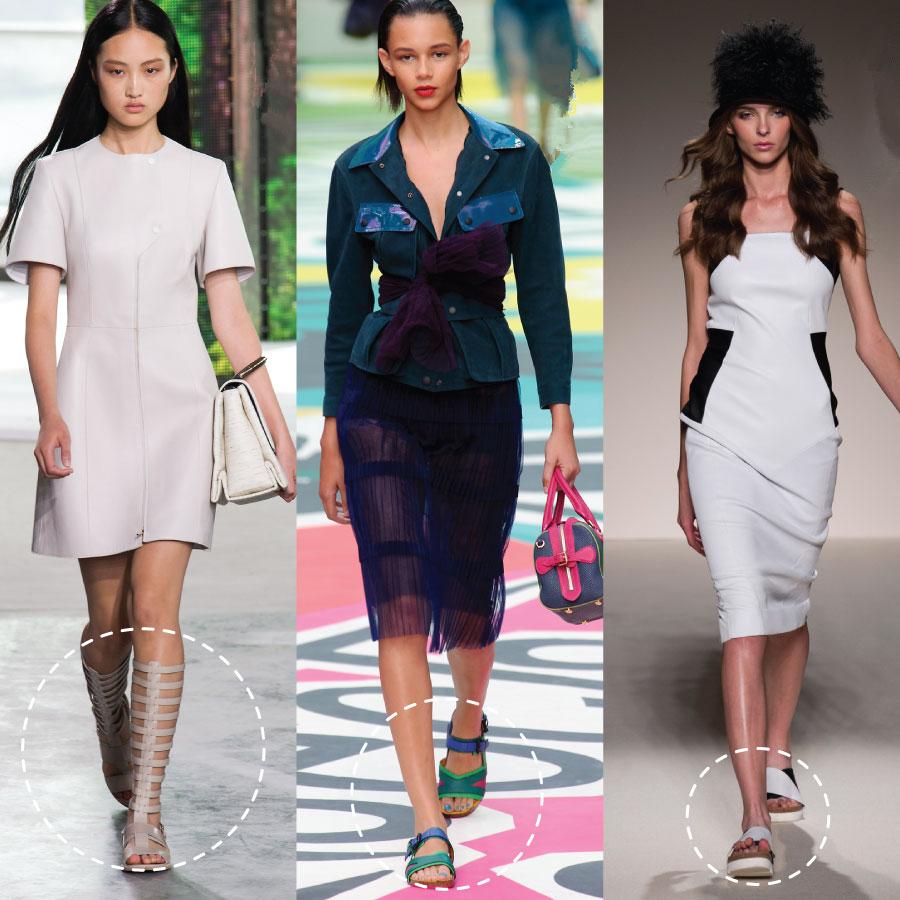 首先,先讓我們來看一下2015春夏流行, 在時尚大秀中,模特兒們搭配的涼鞋款式吧~ 有羅馬涼鞋、運動風涼鞋、厚底拖鞋!