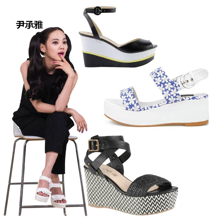 或者是好穿好走好輕鬆的升級版XD~厚底楔型鞋!  因為可以完全支撐全身的重量,也很適合不習慣走高跟鞋的朋友唷! 而且而且這種鞋子的整個厚底也有很多設計感的變化, 也能給美麗的腳腳增加注目感唷!