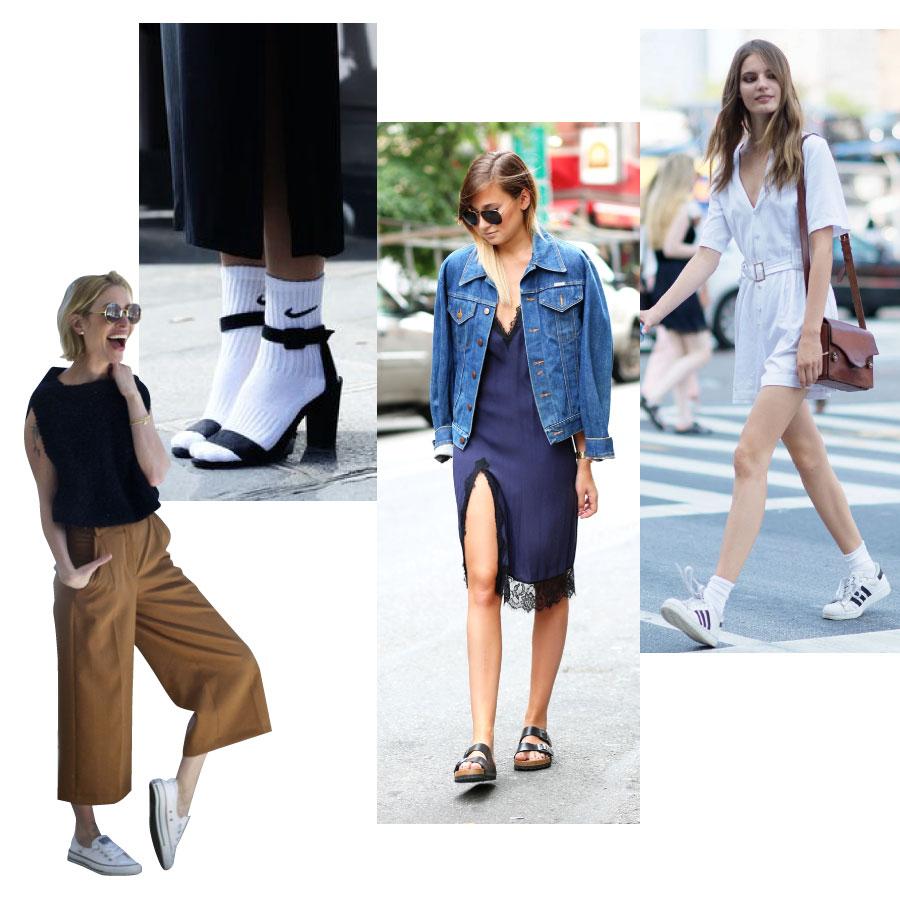 以衣櫃裡最平凡的那些普通上衣,普通牛仔褲,搭上一般休閒鞋等平凡的配件,所搭配出來的造型為特徵!