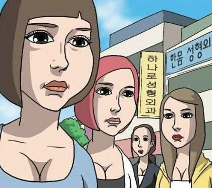 因此網友嘲笑從整容醫院出來的人都像漫畫一樣~風格不變只是髮型變了XD