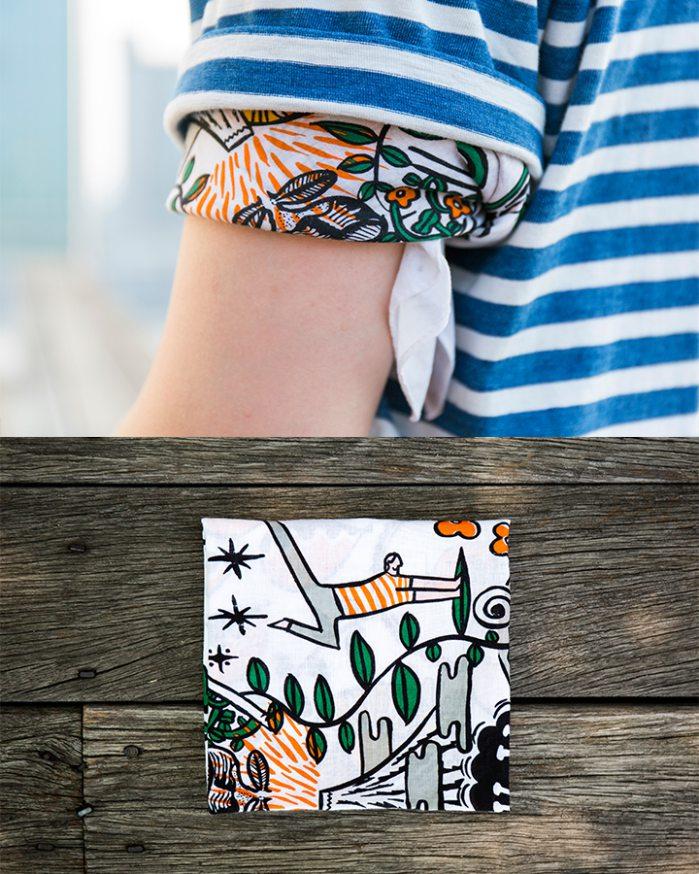 ▶ 手巾  不過特別的是刻意綁在上臂~在袖子間若有似無的顯現~