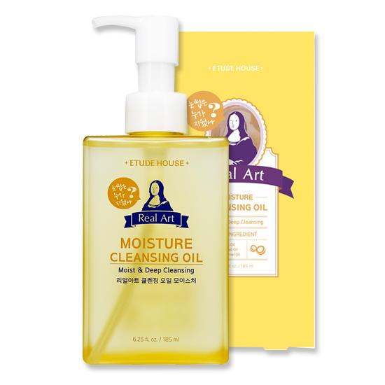 ✭好用卸妝油推薦✭ Real Art保濕卸妝油 / Etude House / 185ml / 台幣售價約395元  含有椰子、葡萄籽、杏桃籽的成分,可以幫助皮膚的角質乾淨去除,還能夠保持皮膚保水度,散發光澤。植物性油脂的成分,因此洗完臉後也不會感覺到乾燥。
