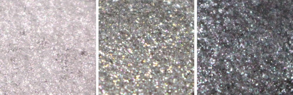放大仔細看一下顏色~白銀&灰銀的亮片感都比較強烈,最後一個黑銀的亮片沒有很明顯....