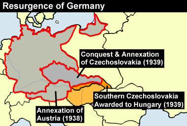 成為元首的希特勒,第一個行動便是起兵攻打因凡爾賽條約而遺失的領土(奥地利、捷克斯洛伐克)!