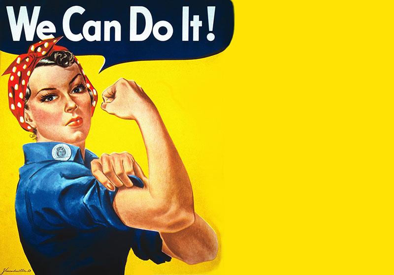 這是當時軍用品工廠為號召女工時,所製作刊登的海報。看見最上方「We can do it!」的句子了吧!也成為當時最有利的標語!