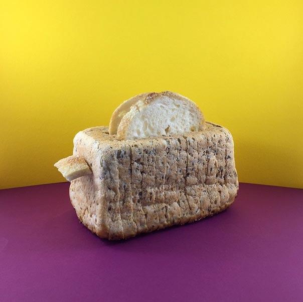 用麵包烤的麵包 XDDD  以上都是出自藝術家Mundane Matters的創意!