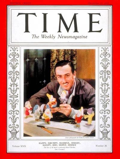 7. 華特迪士尼在<白雪公主>上映一年後的1937年12月27日,登上了TIME雜誌的封面!