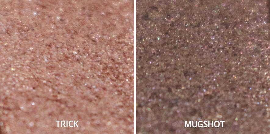 今天會使用的顏色,左邊TRICK是像大地色,只需要輕輕地塗就有效果;右邊的MUGSHOT是屬於珍珠色系,帶點亮粉^3^