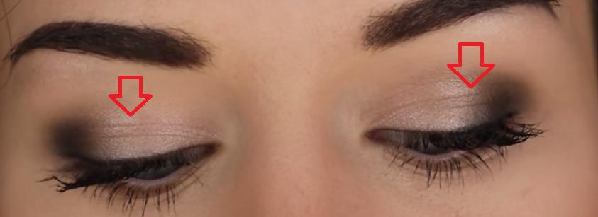 摺痕是什麼狀況呢?通常在眼窩不使用打底膏的情況下,眼妝在一定的時間過後,就容易在眼摺處出現吃妝的現象(如圖中眼皮上的摺痕)。