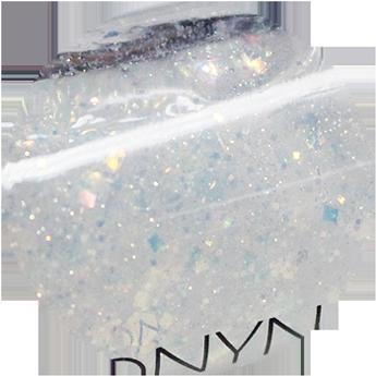 還有,接下來要用到的這個珠光亮片透明指甲油,最好選擇亮片大小不一,這樣塗上指甲後,會有一種冰塊般的錯覺喔:)