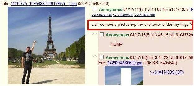 是的,這個事情是這樣發生的.....有位男子在網路上,拜託各位神手大大讓他能夠觸摸到艾菲爾鐵塔的頂端......?!