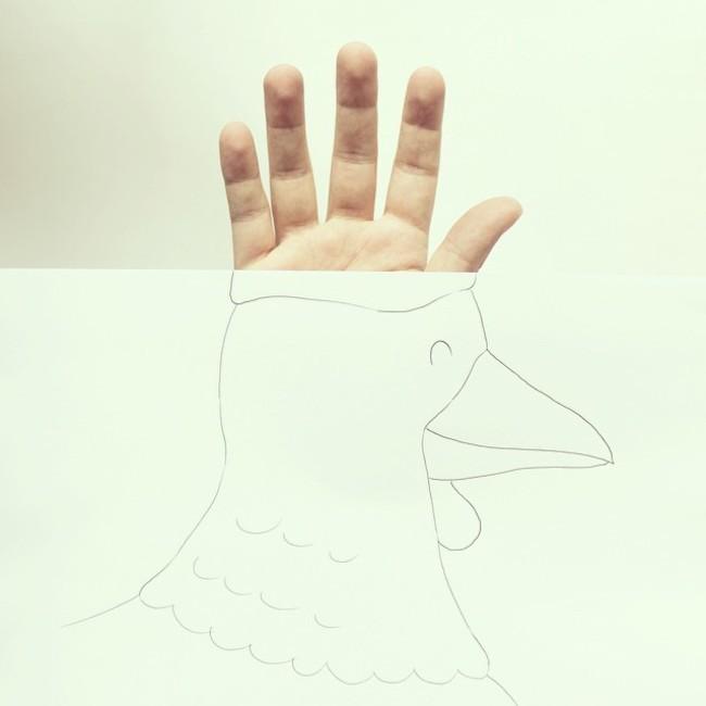 五根手指馬上變成了雞冠