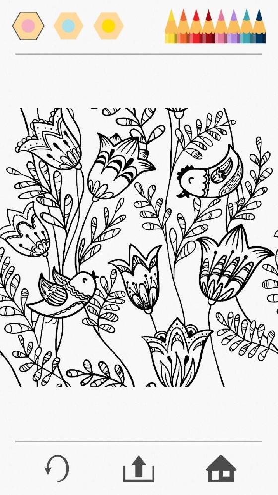 手機小姐選了花卉,在花花草草上有兩隻小鳥正在嬉戲。