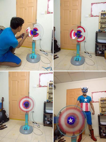 # 美國隊長 你需要台電風扇,然後像圖中那個人那樣,把葉扇塗滿,就可以獲得美國隊長的超強盾牌了!