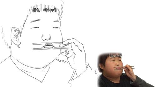 人物是用筷子夾著嘴巴!! 這個在酒後三巡以後最愛玩了~~~