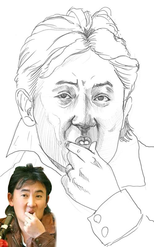 需要模仿大前輩歌手李承哲的傳奇動作~摸唇