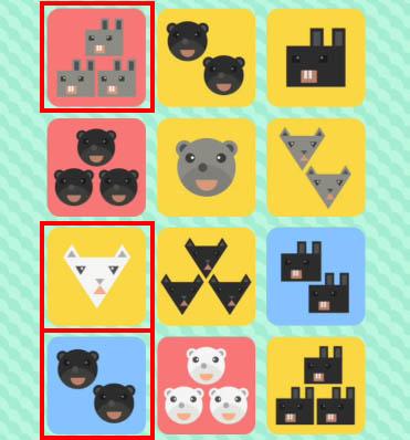 正解是圖中紅框的三張卡片!這個遊戲主要是根據卡片顏色、動物種類、動物的顏色、動物數量。需要找出全都一樣,又或是全都不一樣的卡片!