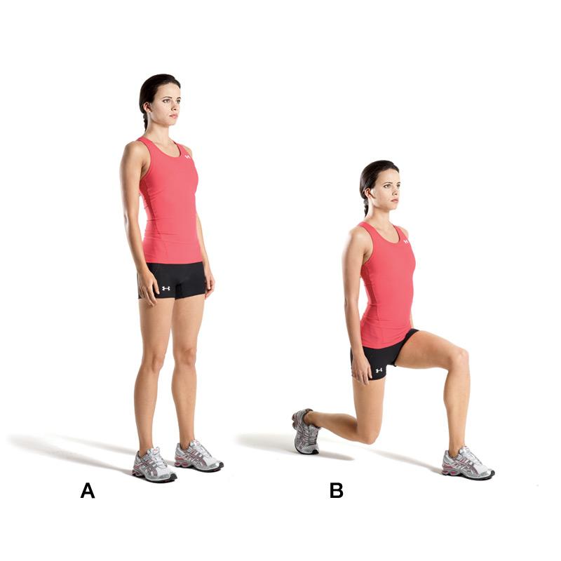 01) 腳與肩同寬分開  02) 一隻腳向前彎曲90度,然後後腳和前腳維持2到3步的距離  03) 維持這樣的姿勢5秒以後,後腳慢慢往前縮,回到原來的姿勢  04) 然後再換另外一隻腳,繼續同樣動作!