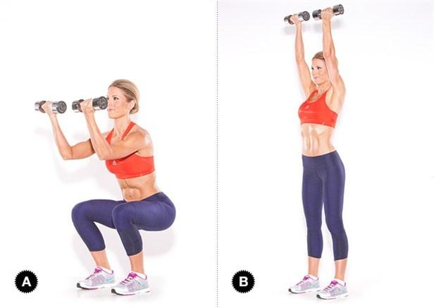 追加動作 3. 可以一起舉啞鈴,這樣同時會運動到手臂