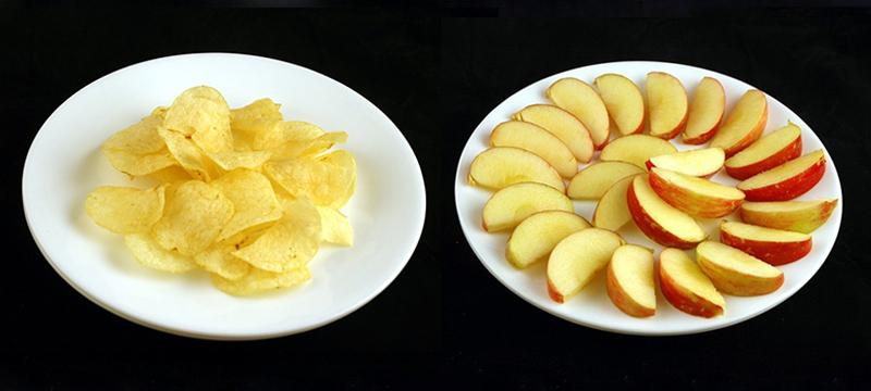 洋芋片 37g = 蘋果 385g