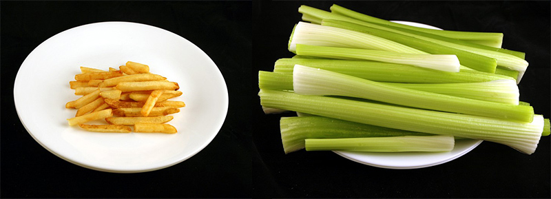薯條 73g = 芹菜 1425g