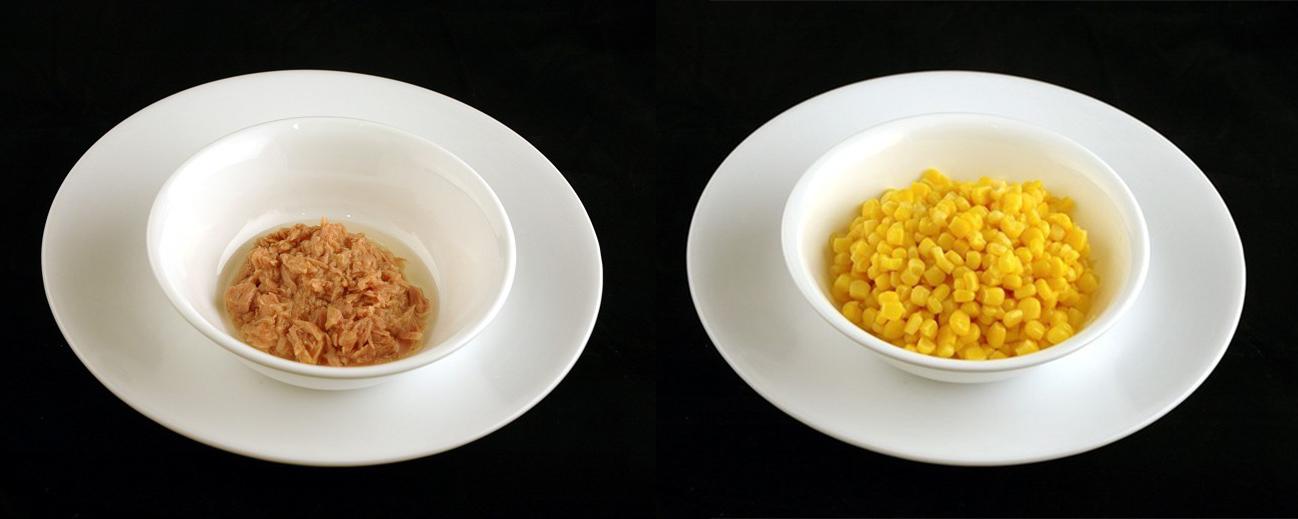 鮪魚罐頭 102g = 玉米罐頭 308g