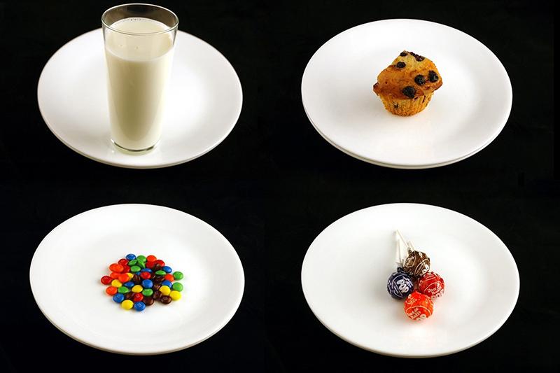 除此之外,還有牛奶 333ml、藍莓杯子蛋糕 72g、m&m巧克力 40g、棒棒糖 68g等,都是200卡洛里的量!
