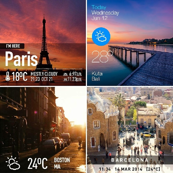 《InstaWeather》有各種模板,以不同的方式顯示當地的名稱、日期、時間以及天氣,一張照片就能說盡你現在的狀態囉!