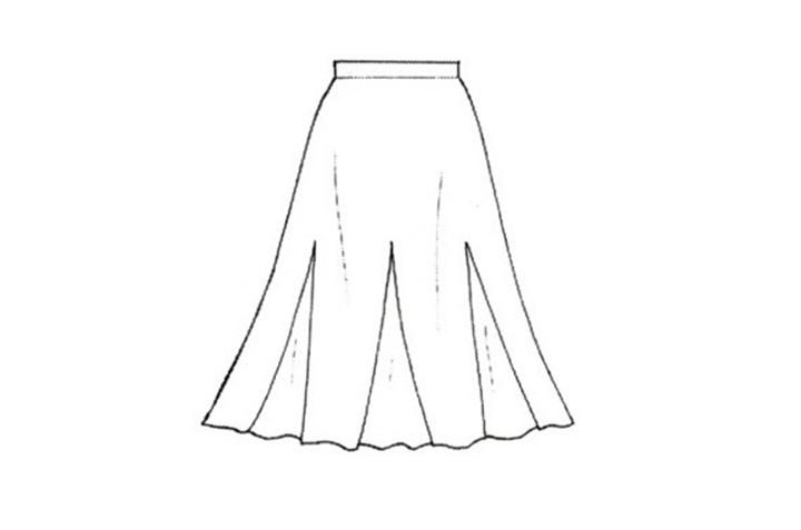 2. Gored skirt:腰部沒有抓皺,裙面利用三角形的內折設計,讓裙子呈現像傘一樣撐開的感覺!