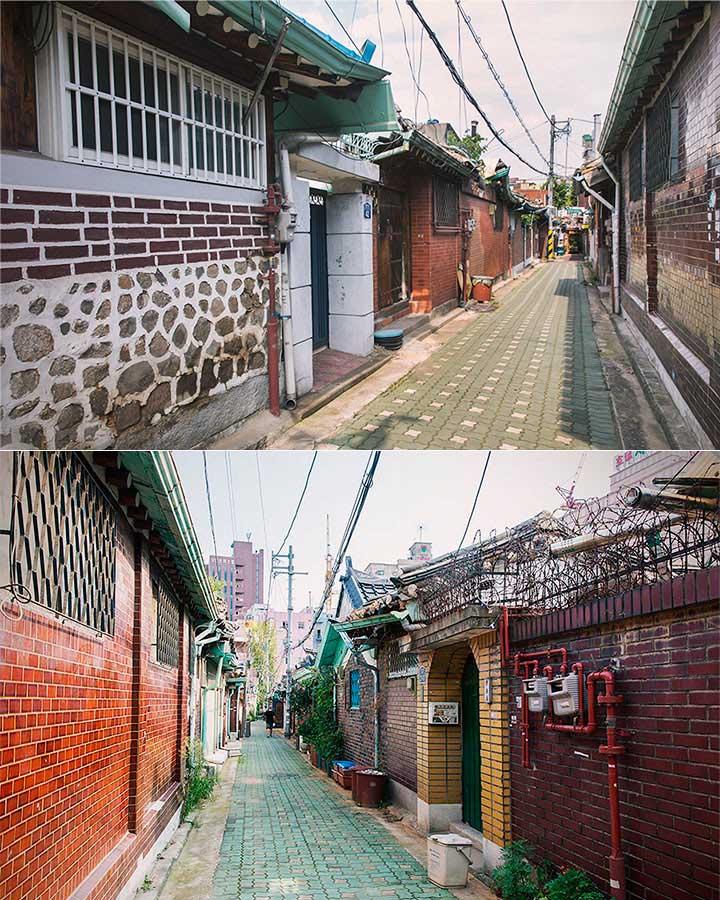 現代式的韓屋有著傳統的契瓦屋頂、庭園、地暖等設施,這裡反而少見,跟北村的韓屋村非常的不同對吧?(反倒很像台灣常見的房屋啊)
