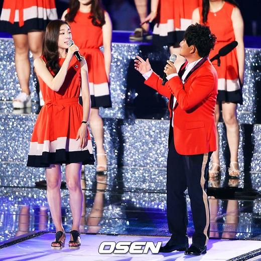 日前在韓國光復節參與晚會的國民滑冰女王金妍兒