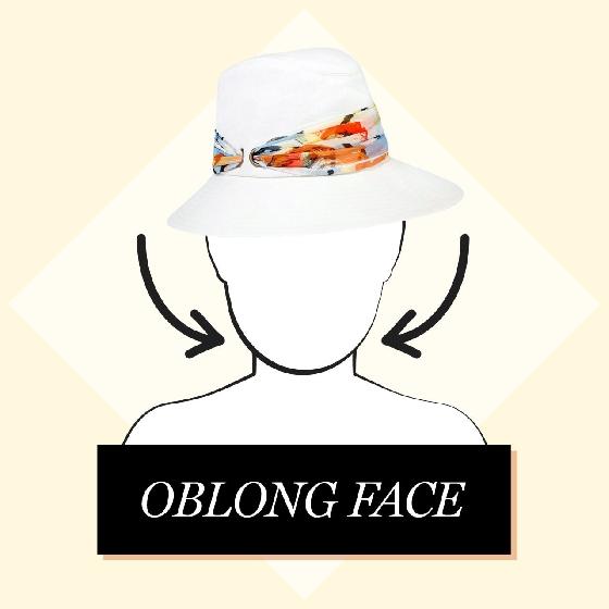 3.長型臉  為了平衡臉的形狀,可以選擇讓臉顯得比較小的大帽緣女伶帽、復古風情鐘型帽、或是帽頂較方的漁夫帽。