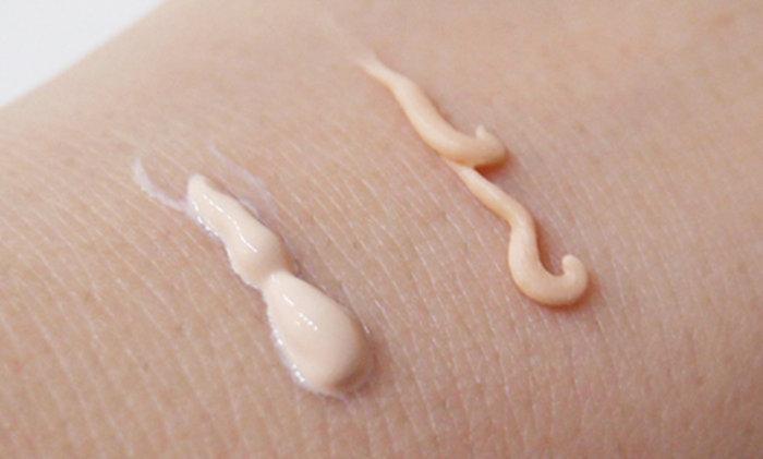 Poretol飾底乳像乳液一樣(左),TSURURI 遮瑕筆(右)比較像膏狀