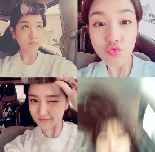 首先登場的是擁有多變表情的SPICA成員楊知元(還好啦~不算太誇張) 其實主要是因為韓國女生都喜歡留瀏海,比較顯年輕,所以通常早上都會像這樣捲瀏海!