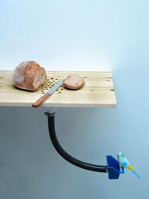 切完麵包的麵包屑很難清掃嗎? 有了這個切板,輕鬆幫你搞定 接條管子,直接把麵包屑送進小鳥的飼料盒裡